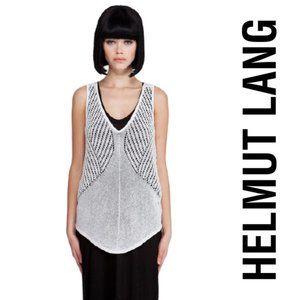 "Helmut Lang ""Geometric Pointelle"" Crochet Tank"